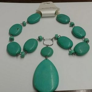 Sterling silver and genuine stone necklace